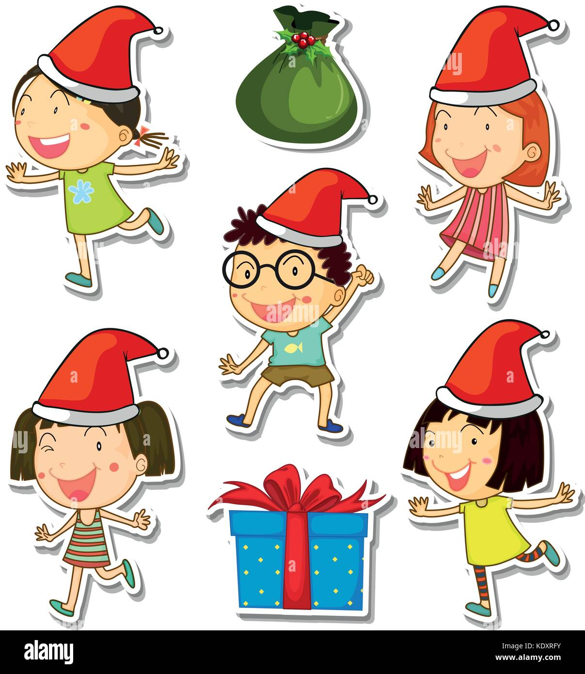 Christmas Kids Vector Set Girl Stock Photos & Christmas Kids Vector ...