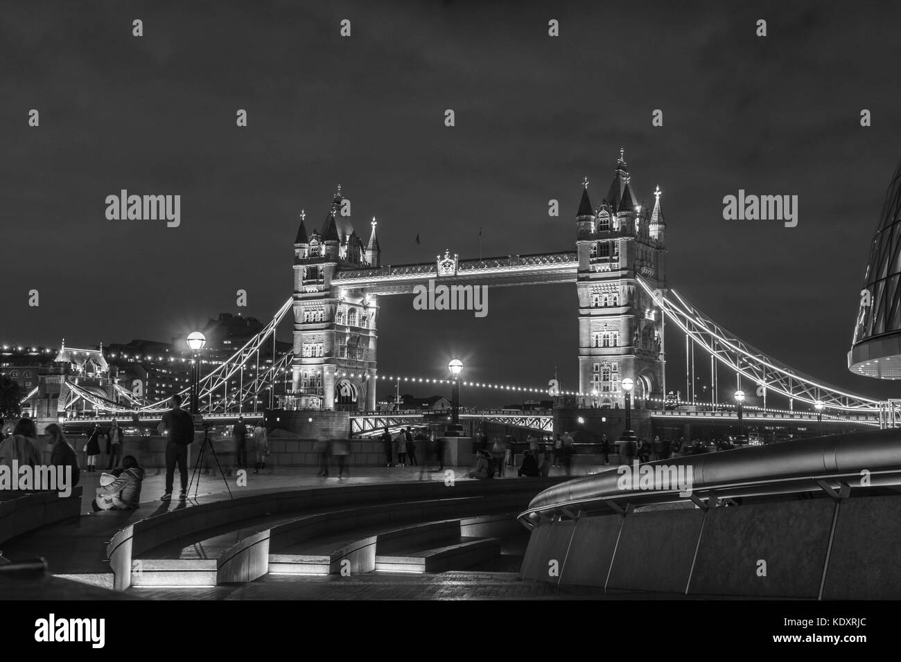 Black And White Of The Tower Bridge At Night City London England
