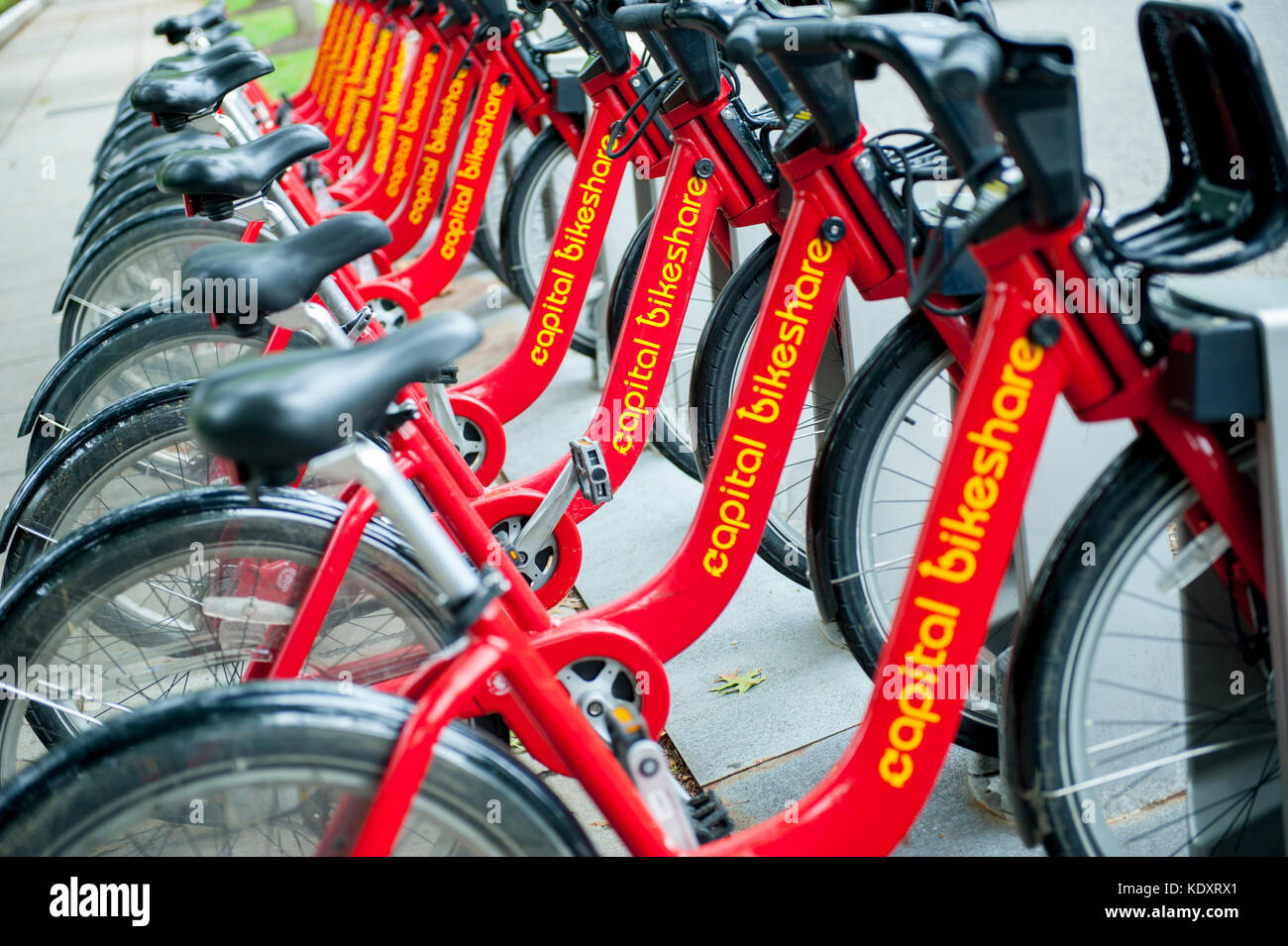 USA Wasington DC D.C. Capitol Bikeshare rental bicycles in the nations capital Stock Photo