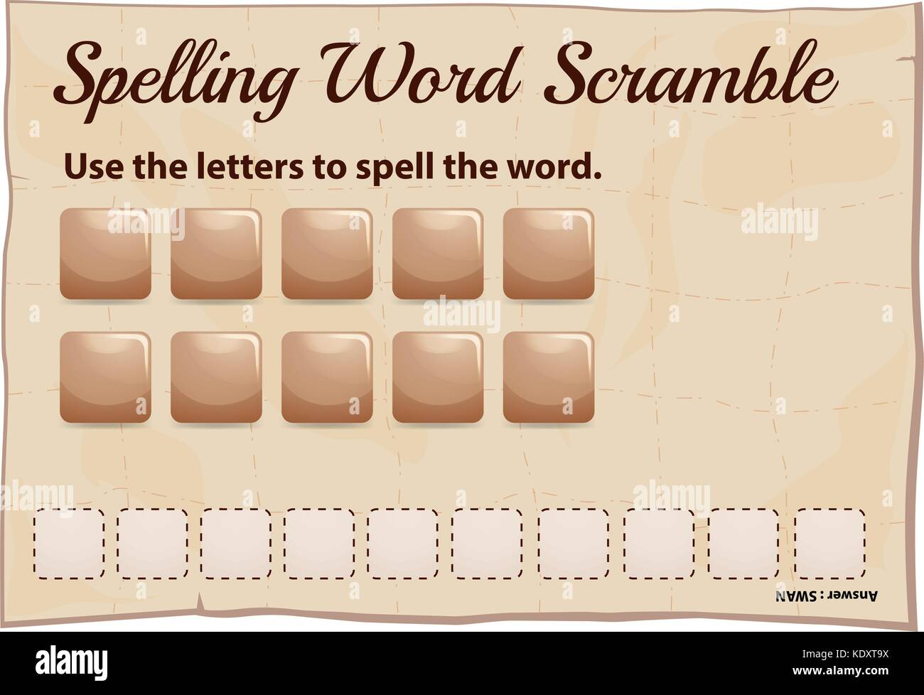 Spelling word scramble game template illustration - Stock Vector
