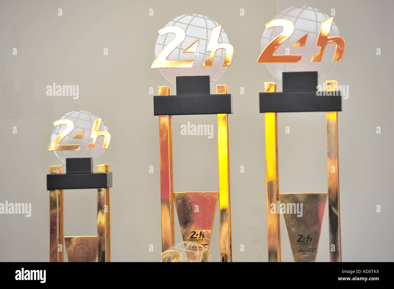 The 2017 Le Mans winners trophies on display at the Goodwood Festival of Speed. - Stock Image