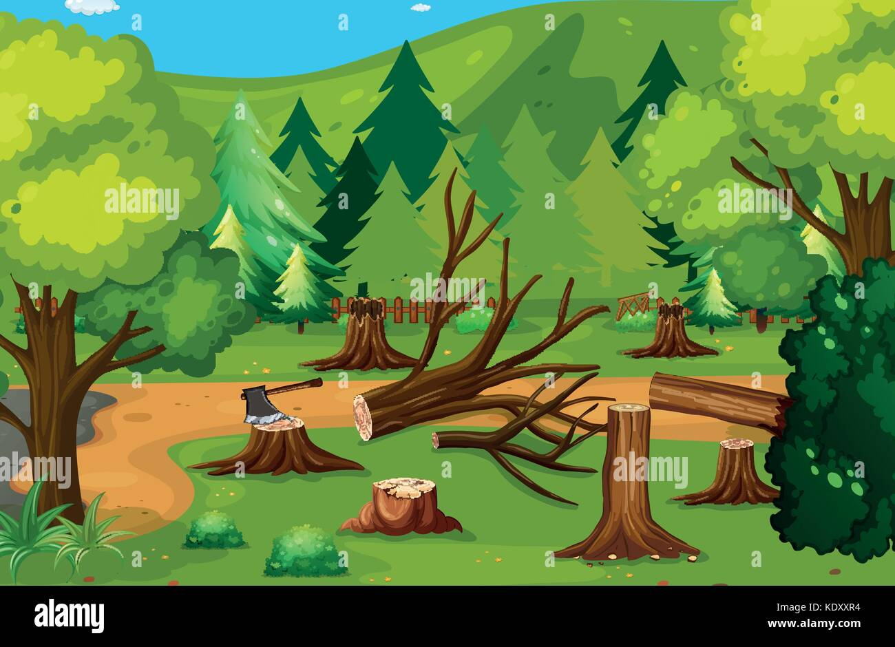 deforestation scene with chopped woods illustration stock tree stump clipart black and white tree stump clipart
