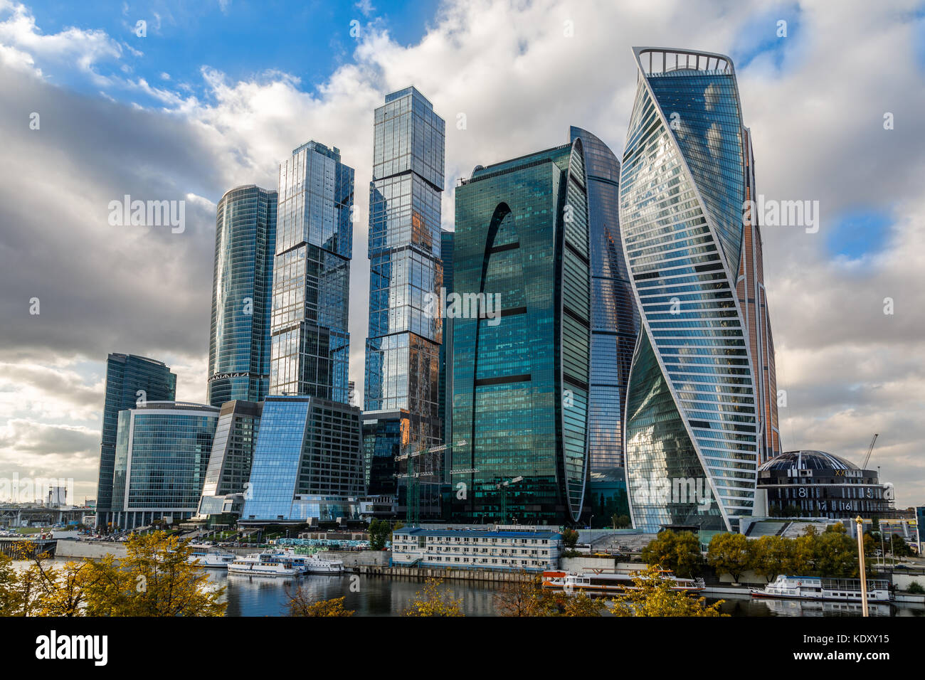 Moscow city downtown district with skyscrapers standing at the river, Russia - Stock Image