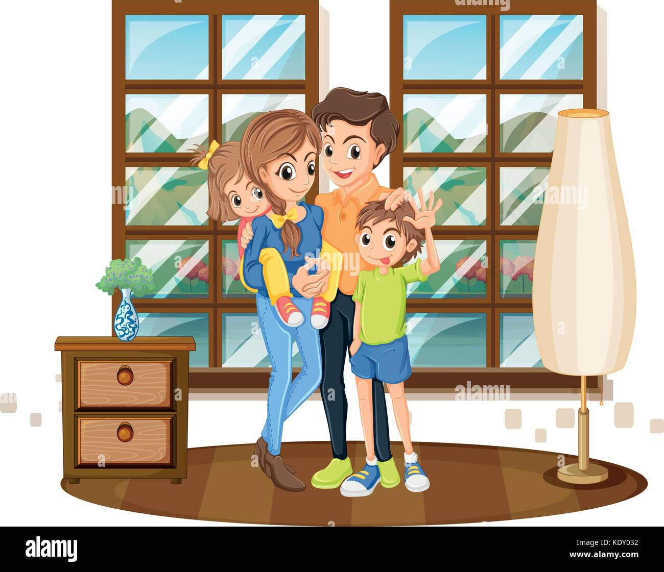 Family members in the house illustration - Stock Vector