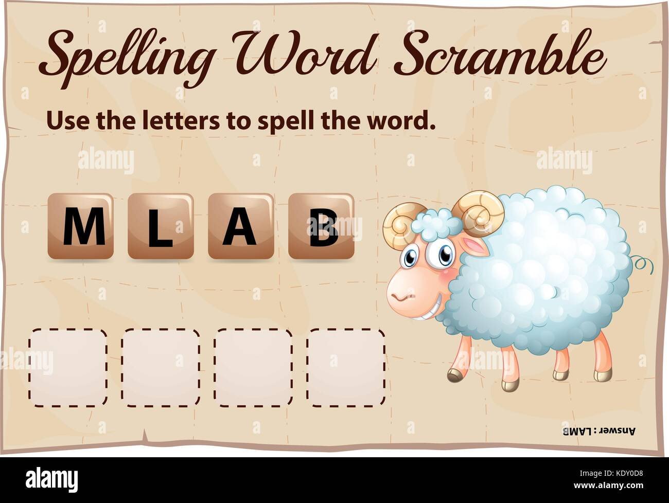Spelling word scramble for word lamb illustration - Stock Vector