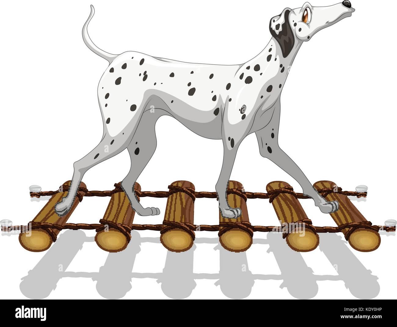 Dalmatian dog crossing the bridge illustration - Stock Vector
