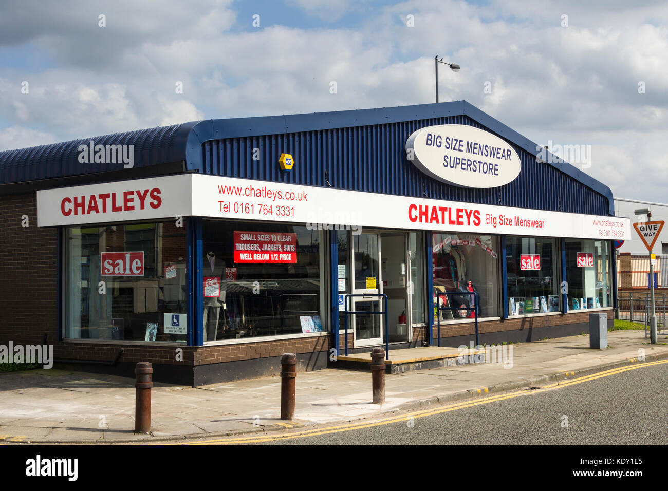 Chatleys big size menswear superstore, Bury, Greater Manchester. Chatleys specialise in men's clothing in larger Stock Photo