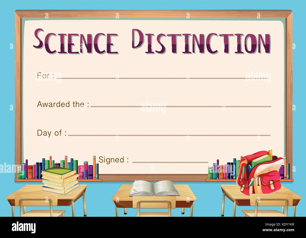 Certificate template for science distinction illustration - Stock Image