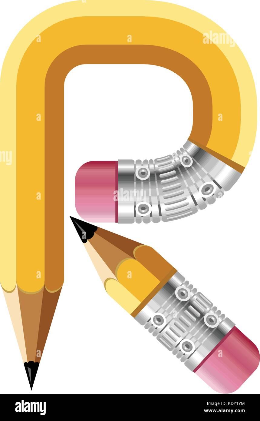 d5001604 Letter r pencil icon, cartoon style Stock Vector Art & Illustration ...