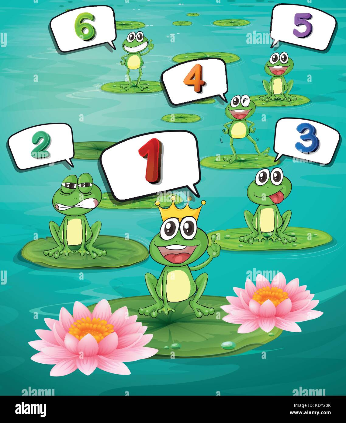 Counting numbers with green frogs illustration Stock Vector