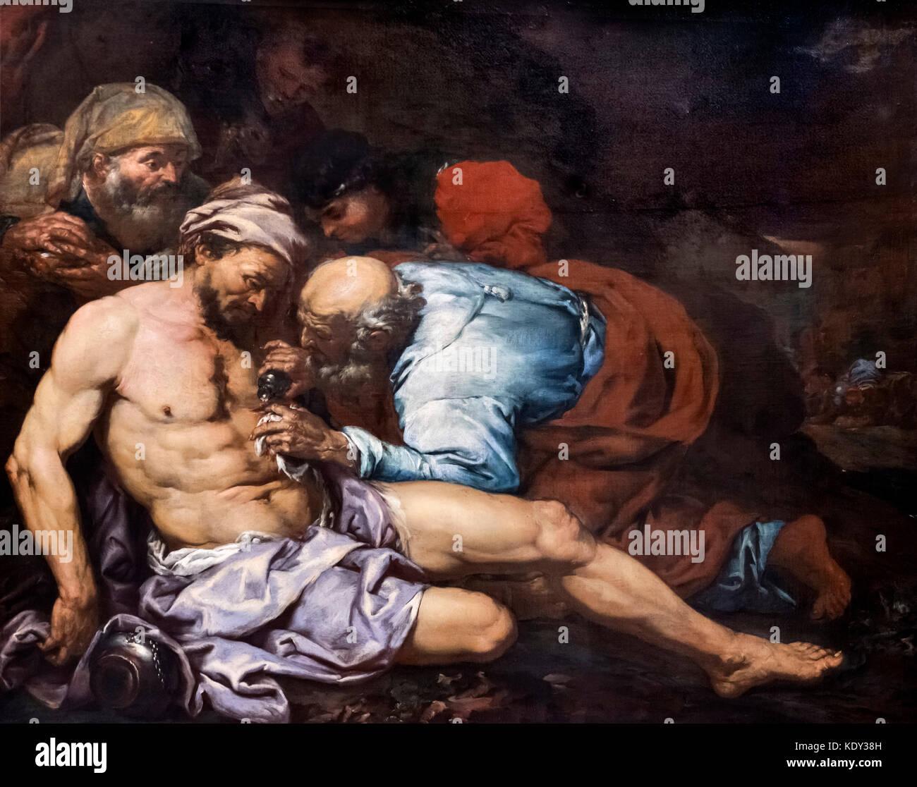 The Good Samaritan by Giovanni Battista Langetti (1625-1676), oil on canvas, c.1660-75 - Stock Image