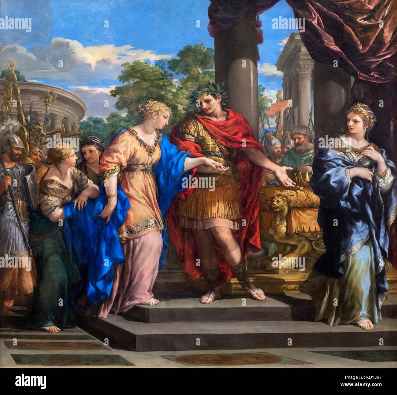 Caesar Giving Cleopatra the Throne of Egypt by Pietro da Cortona (Pietro Berrettini: 1596-1669), oil on canvas, - Stock Image