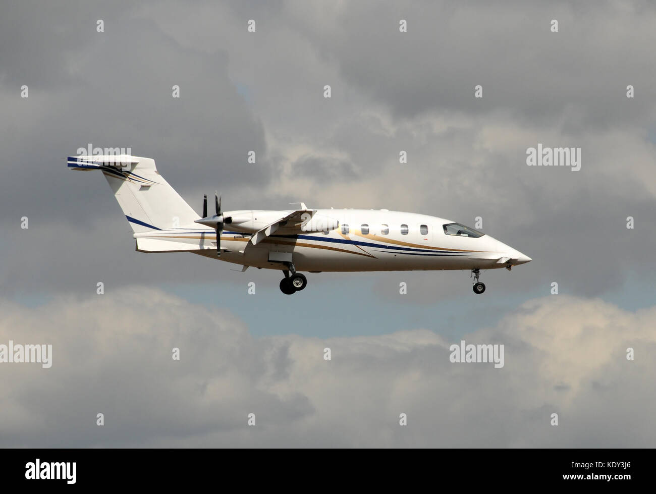 Modern turboprop airplane with engines facing back - Stock Image