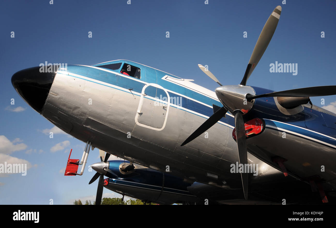 Retro propelelr airplane nose and engines - Stock Image