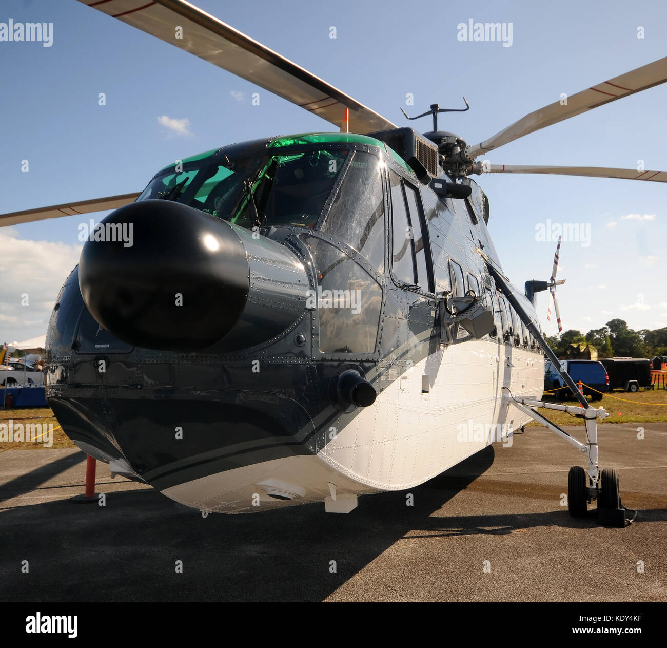 Modern heavy lift helicopter parked before flights - Stock Image