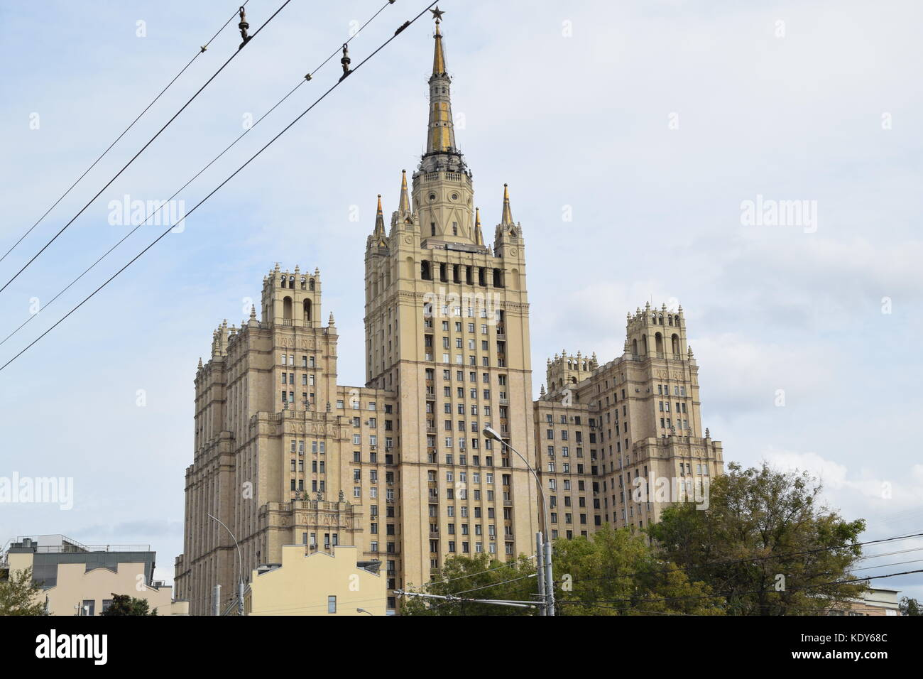 Kudrinskaya Square Building is one of seven Stalinist skyscrapers, designed by Mikhail Posokhin and Ashot Mndoyants. - Stock Image