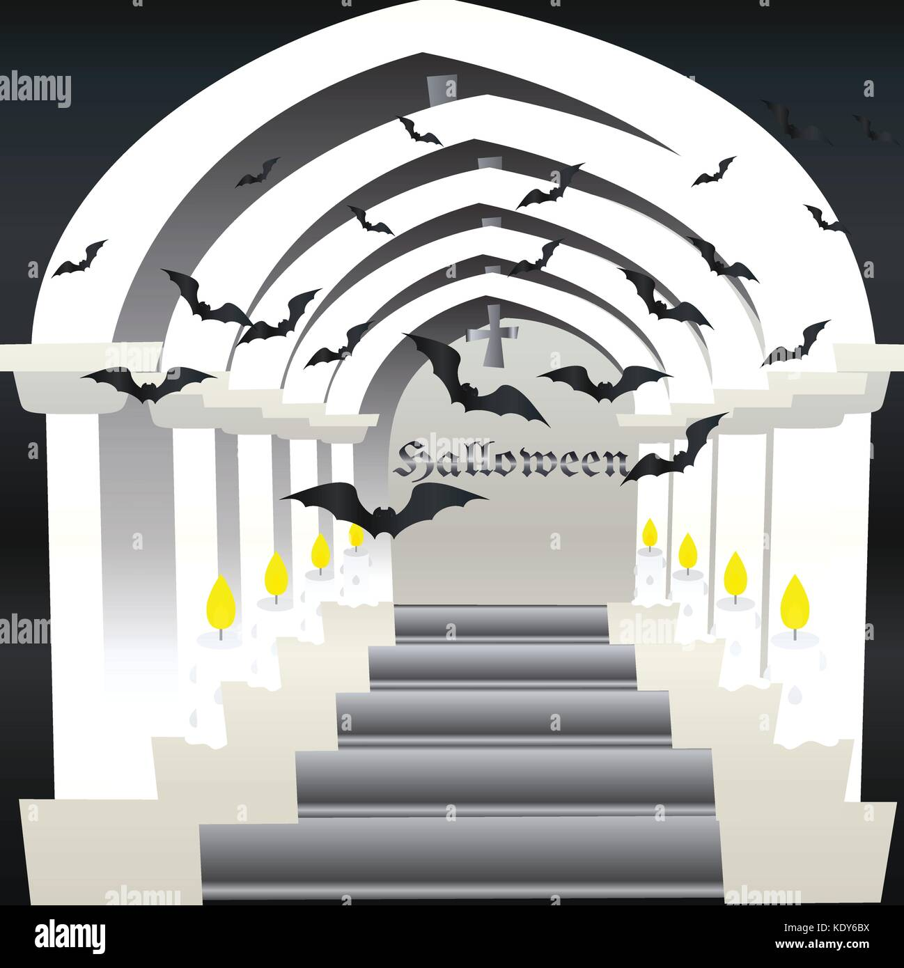 Haunted Castle Vector, background, backdrop,card,postcards,illustration,printing and wallpaper can be applied to - Stock Image