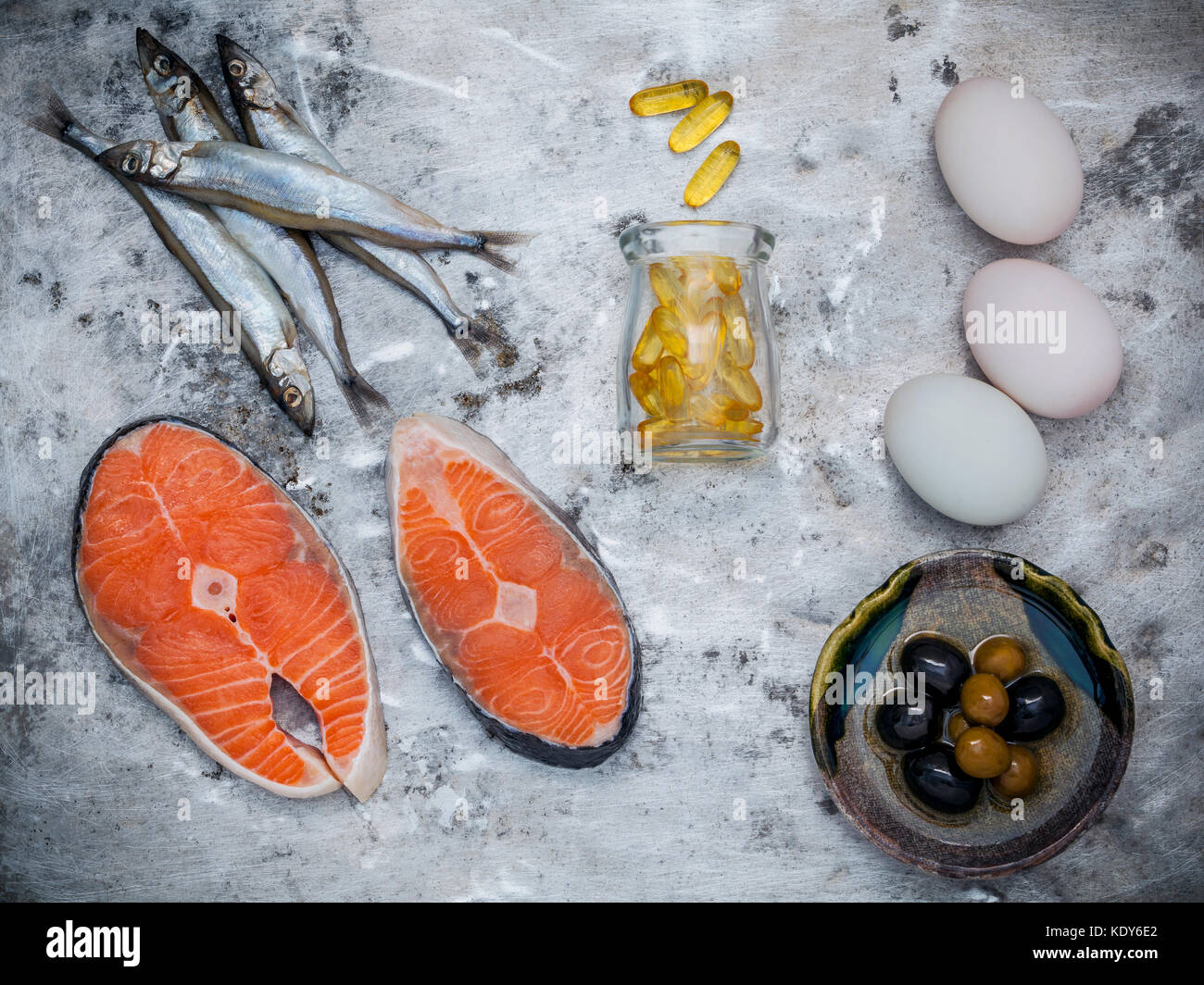 Selection food sources of omega 3 and unsaturated fats. Superfood high vitamin e and high nutritional value for - Stock Image