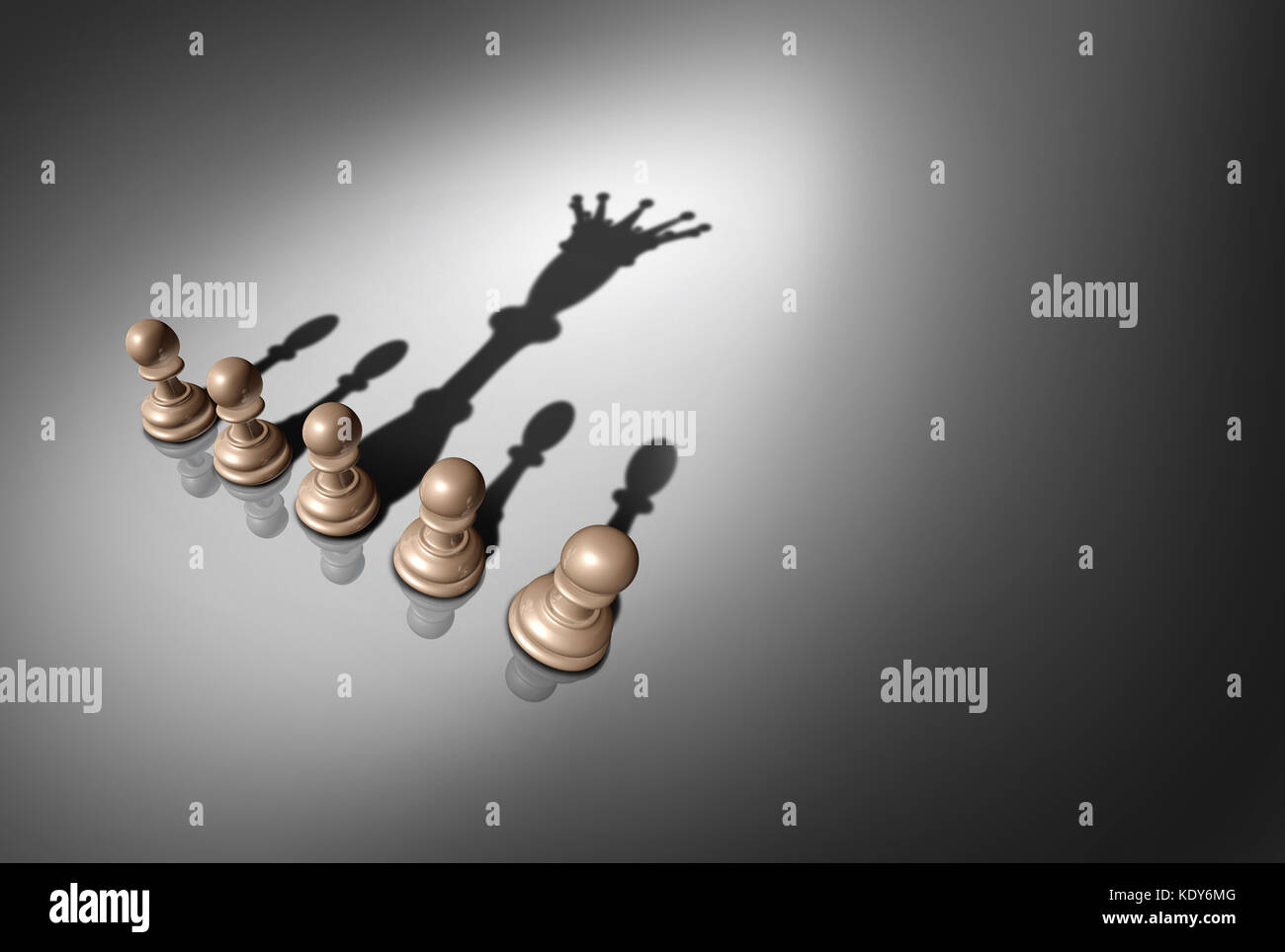 Concept of leader and leadership as a group of chess pawn pieces with one piece casting a shadow of a king as a - Stock Image
