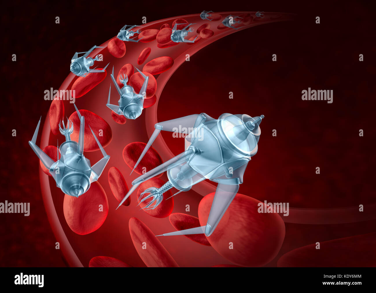 Nanorobots and nanotechnology bioengineering and advanced medical technology concept as nanomedicine robots inside - Stock Image