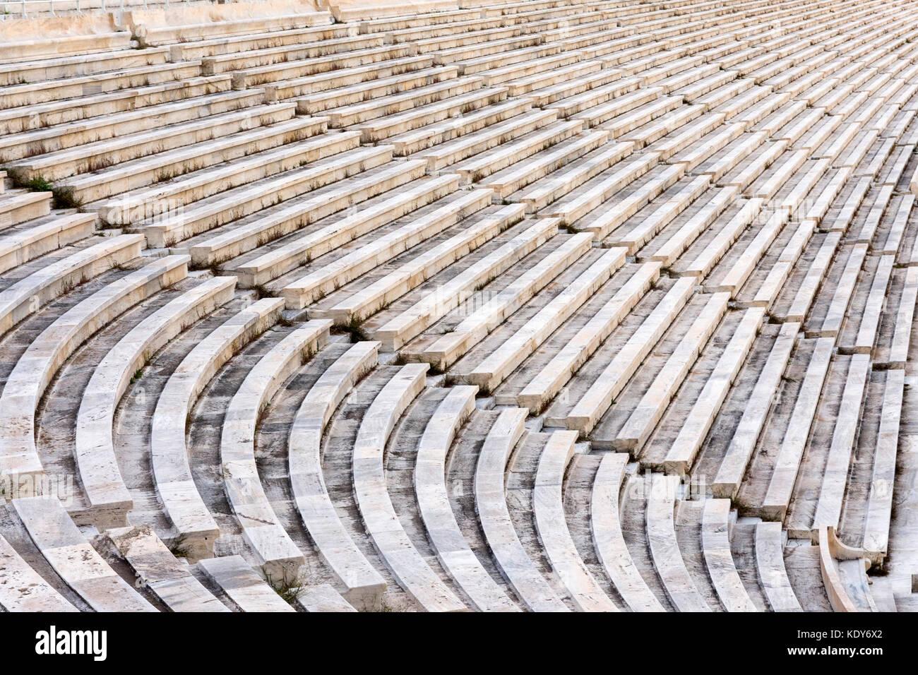 marble stairs of panathenaic stadium Stock Photo