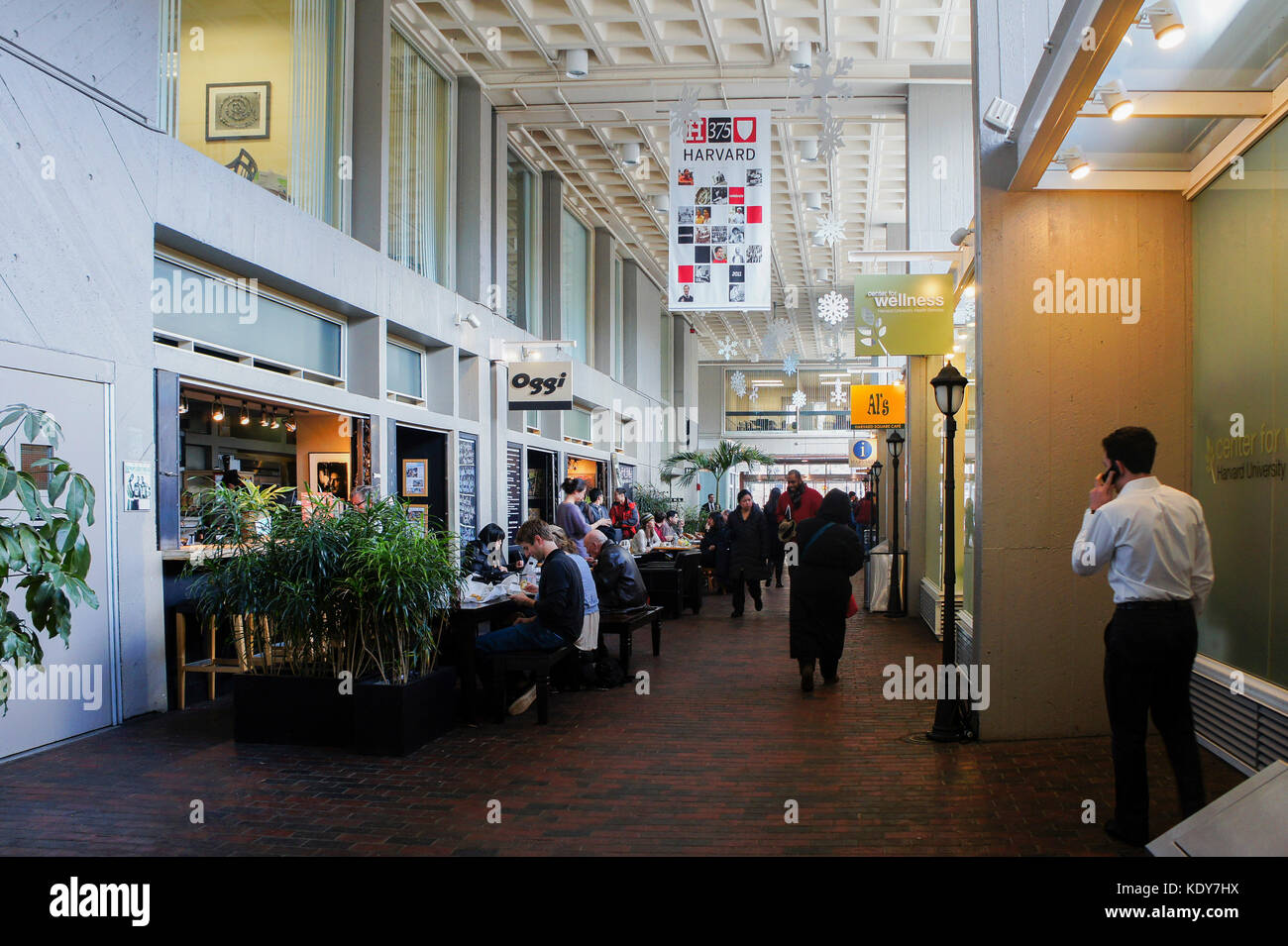 Boston, JAN 26: Food court in Harvard University on JAN 26, 2012 at Harvard Square, Boston, Massachusetts, Boston, - Stock Image