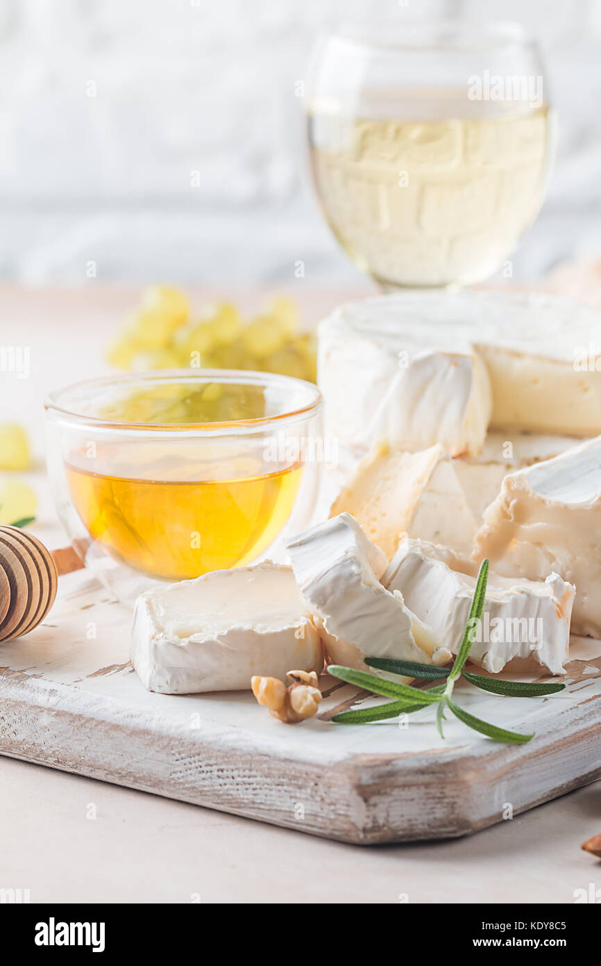 Camembert and brie cheese - Stock Image