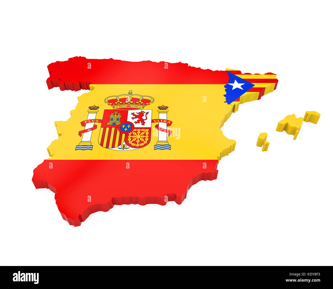 Spain And Catalonia Map Isolated Stock Photo 163483239 Alamy