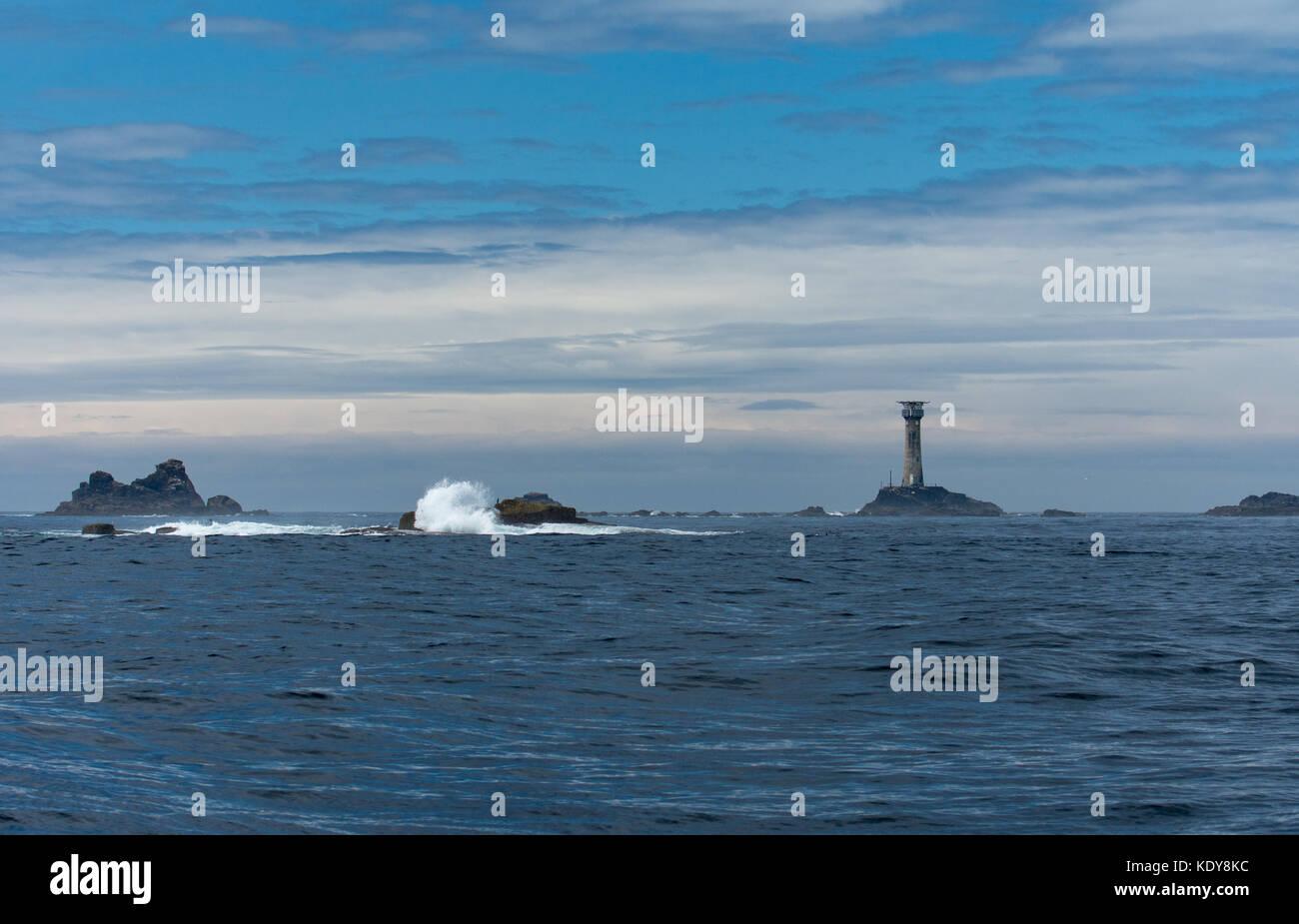 Longships Lighthouse, Manacles Rocks, Cornwall - Stock Image