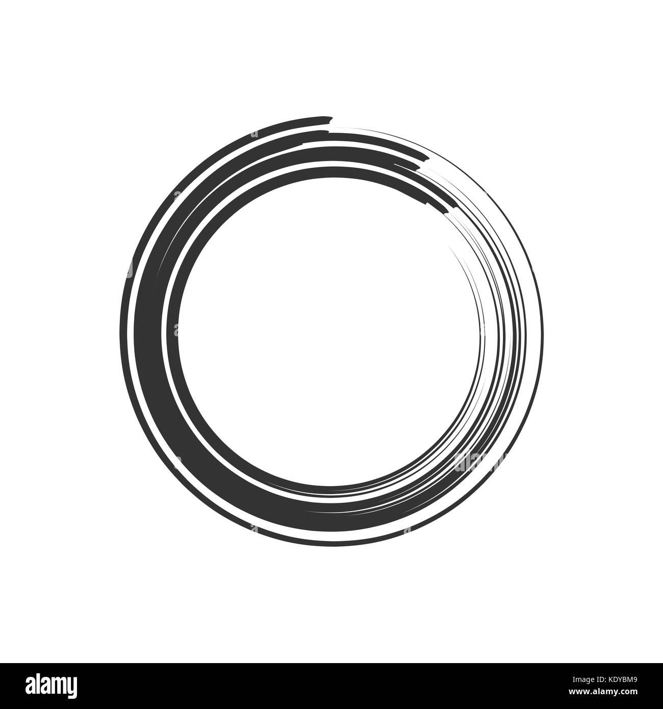 Bold Ink Brush Zen Symbol - Stock Image
