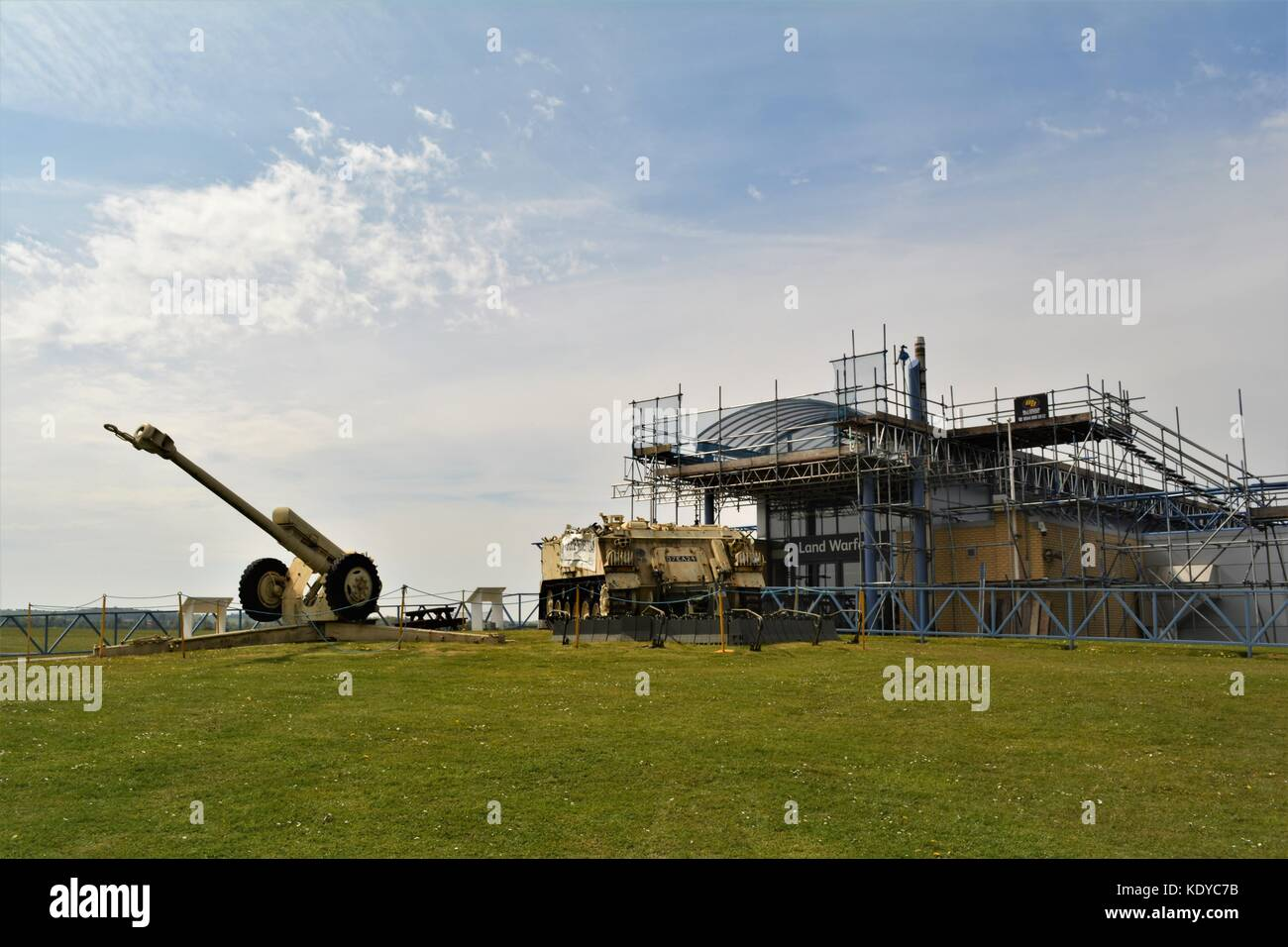IWM Duxford land warfare hall with scaffolding around for repairs - Stock Image