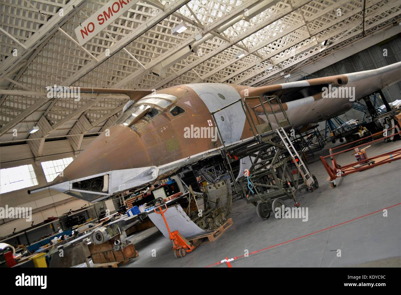 Handley page Victor undergoing repair and preservation at IWM Duxford - Stock Image