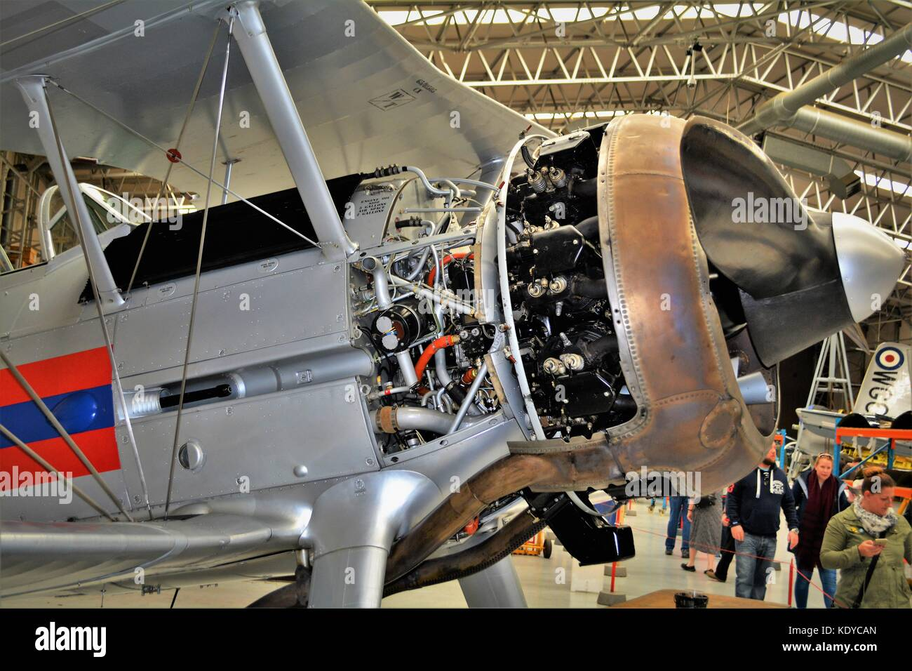 Gloster Gladiator bi plane fighter, Undergoing engine maintenance at IWM Duxford, - Stock Image