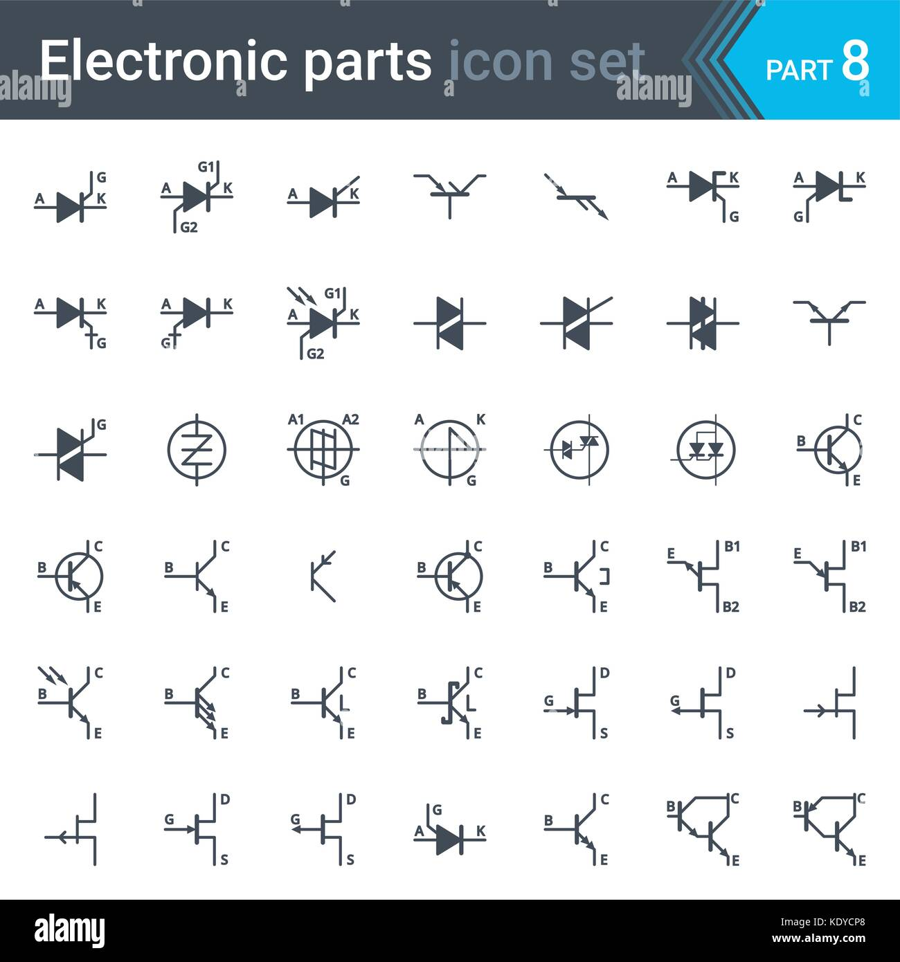 complete vector set of electric and electronic circuit diagram symbols and  elements - thyristors, triacs, diacs and transistors