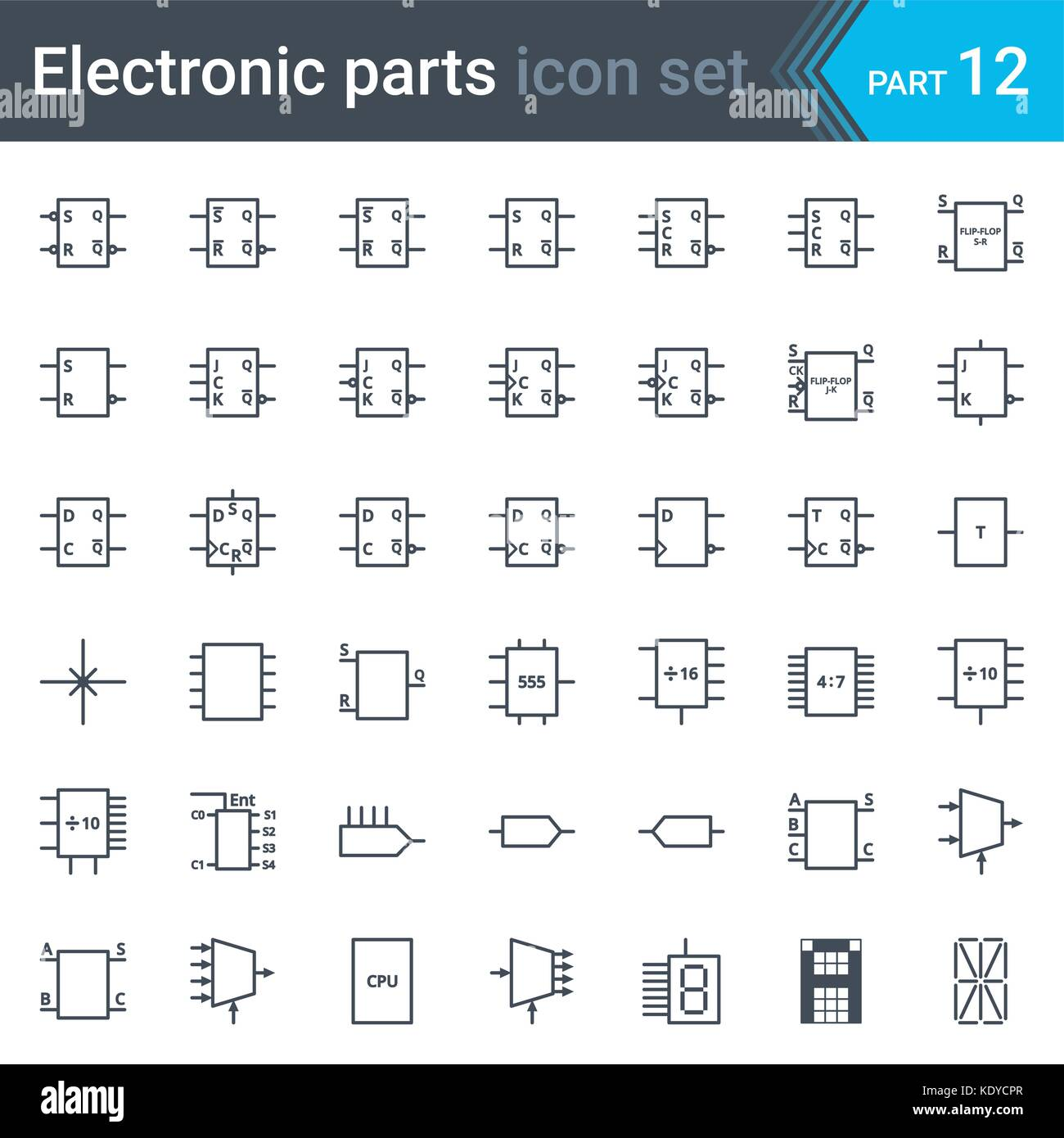 Transistor Logic Stock Photos Circuit Diagram Complete Vector Set Of Electric And Electronic Symbols Elements Digital Electronics