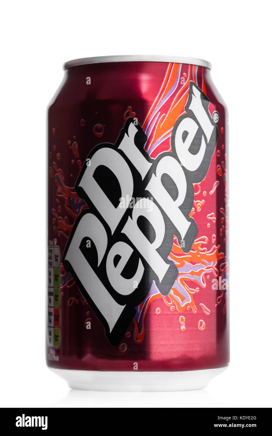 LONDON, UK - JUNE 9, 2017: Aluminium can of Dr.Pepper  on white background.Created in the 1880s by Charles Alderton Stock Photo
