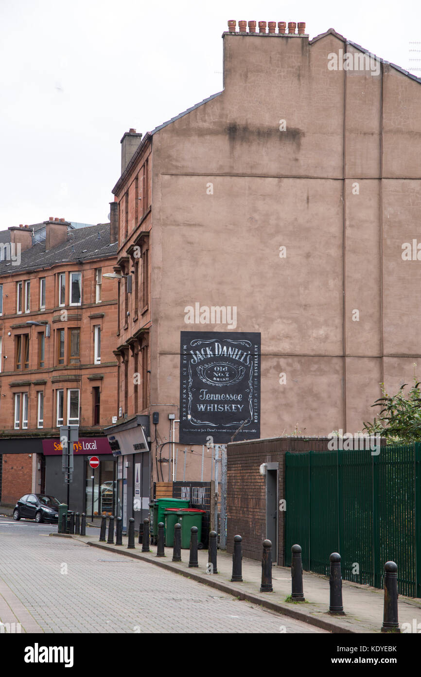 Glasgow tenement building. end gable wall - Stock Image