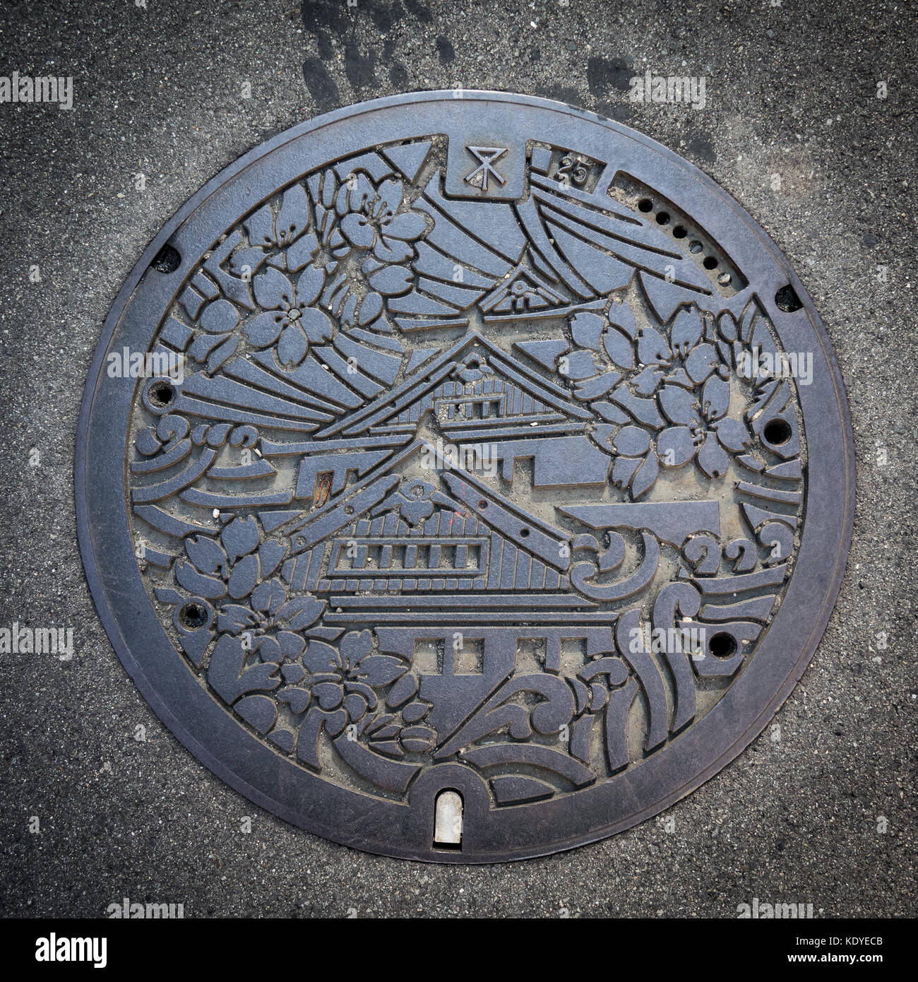 Top view of a manhole cover of Osaka City, Japan - Stock Image