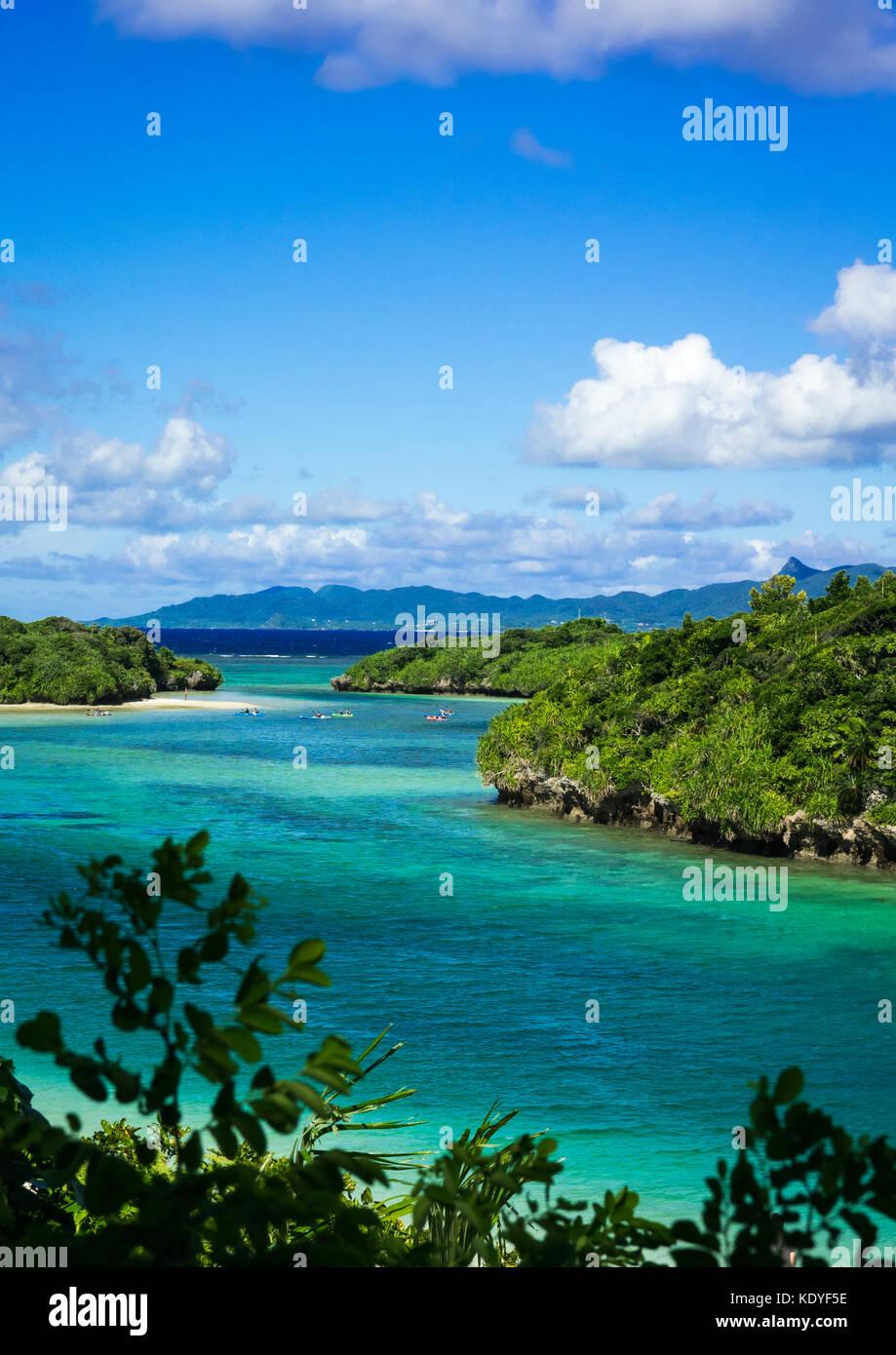 View of scenic Kabira bay and its crystal clear waters, Ishigaki-jima, Yaeyama Islands, Okinawa Prefecture, Japan - Stock Image