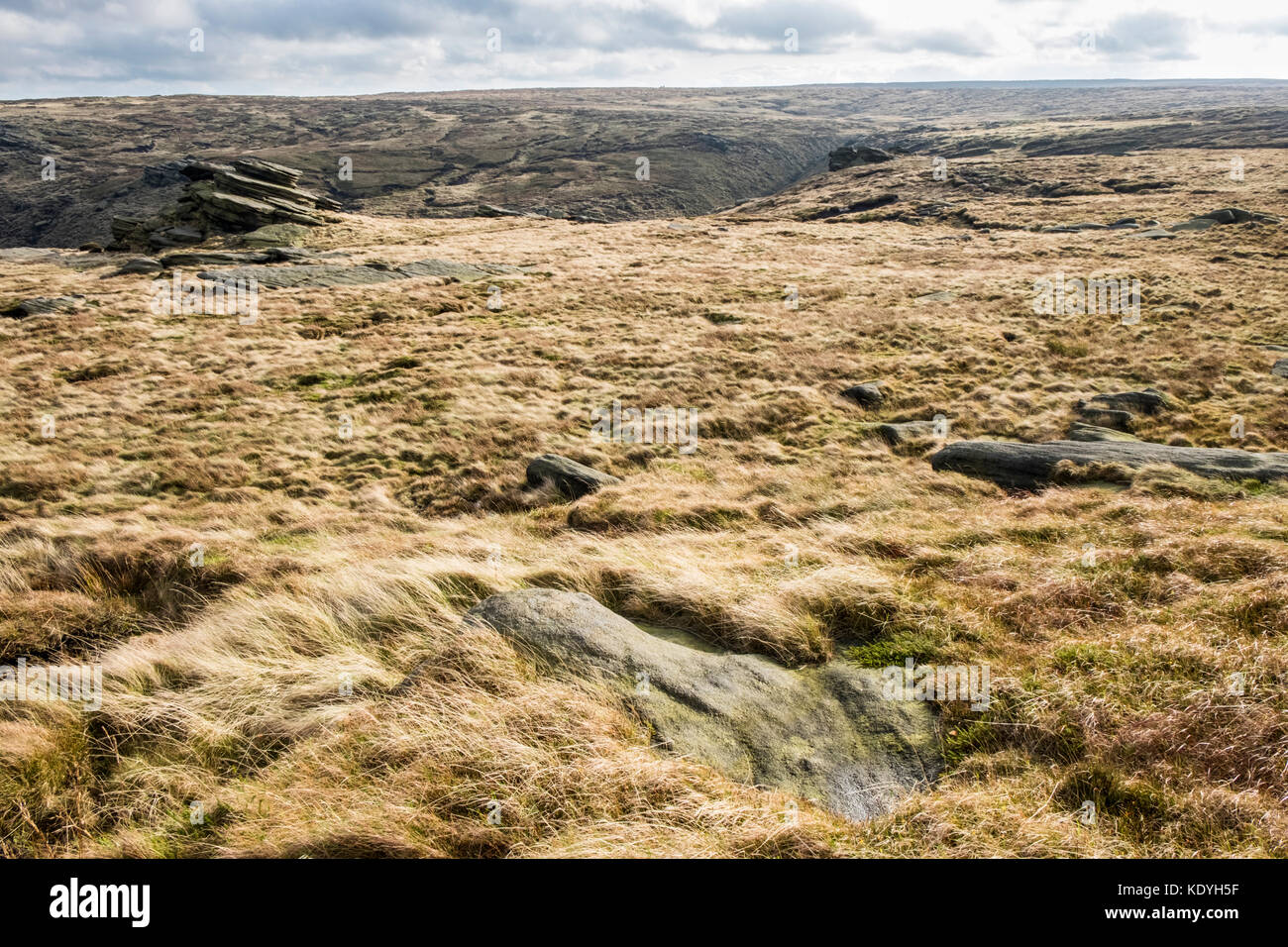 Moorland plateau and gritstone at Fairbrook Naze on Kinder Scout, Derbyshire, Peak District, England, UK - Stock Image