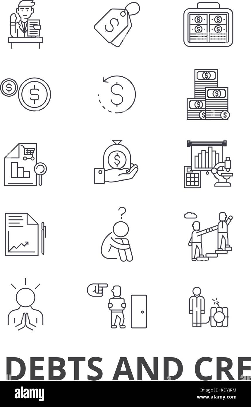 Debts and credits, money, bankruptcy, bill, wealth, finance, financial collector line icons. Editable strokes. Flat - Stock Image