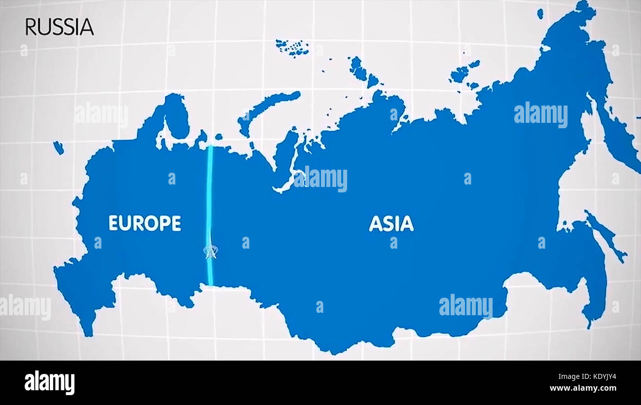 The division of Europe and Asia on the map. the city Ekaterinburg divides Europe and Asia. Eurasia on the map Animation. - Stock Image