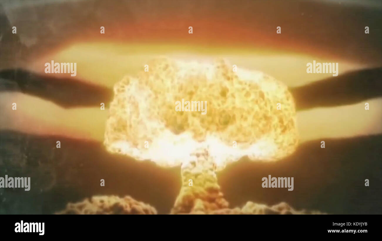 Nuclear explosion and its consequences animation. Nuclear War and its consequences animation. The explosion of a - Stock Image