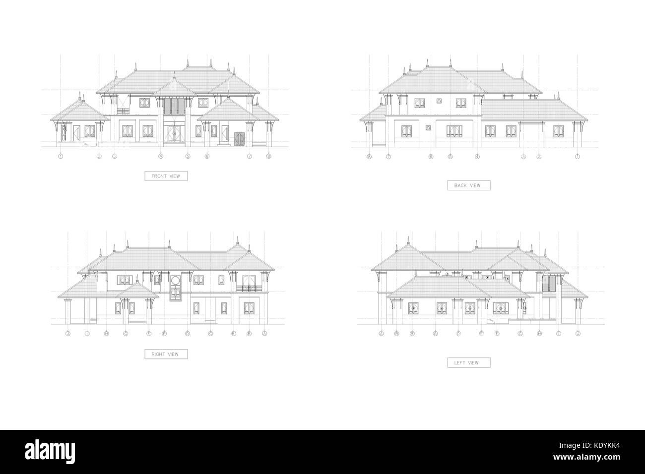 4 Elevation Drawing 3d Thai Traditional House Stock Photo 163491976