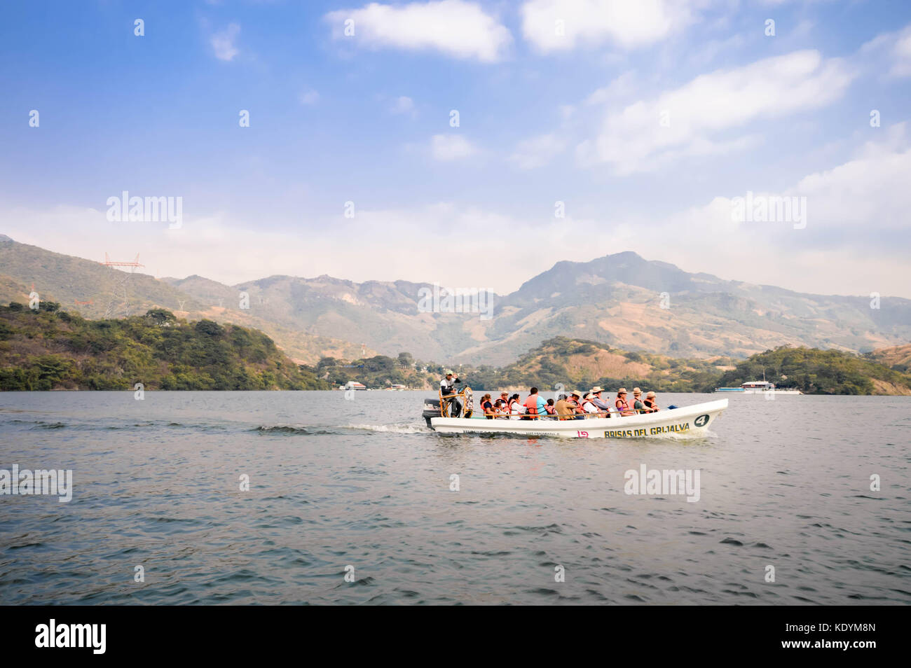 Tuxtla Gutierrez, Mexico - December 20, 2014: Motor boat carries tourists on a ride through the Canyons del Sumidero - Stock Image
