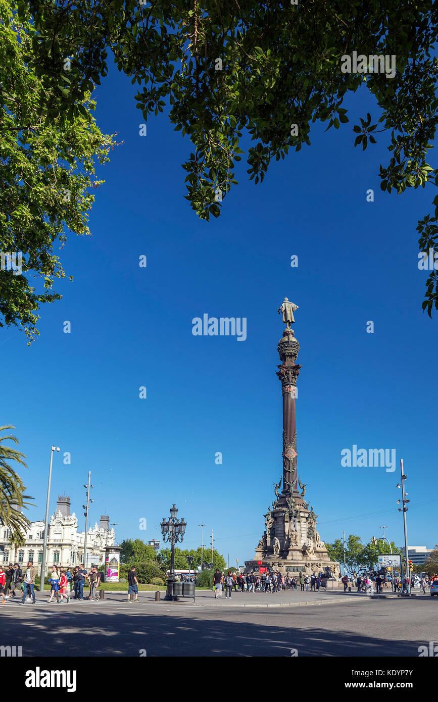 famous columbus monument landmark in  port vell area of central barcelona spain - Stock Image
