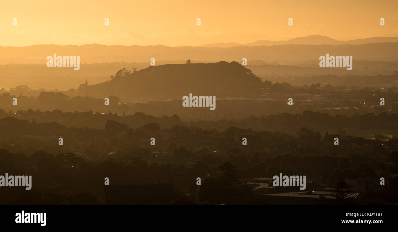A morning view of Mount Saint John Domain from Mt Eden in Auckland, New Zealand - Stock Image