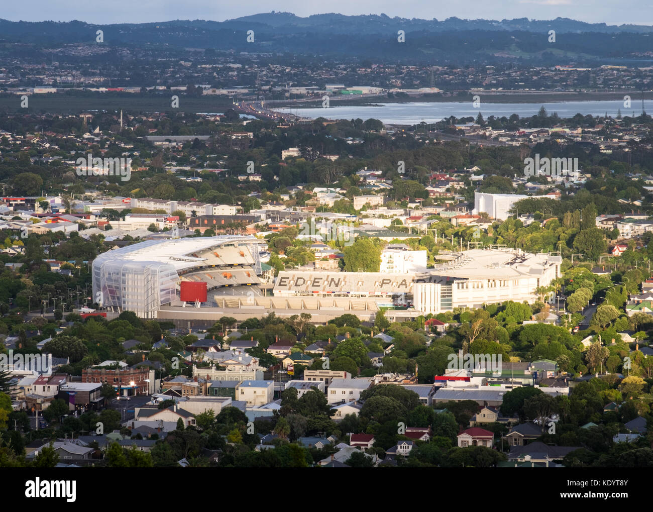 A view of the Eden Park stadium from Mt Eden in Auckland, New Zealand - Stock Image