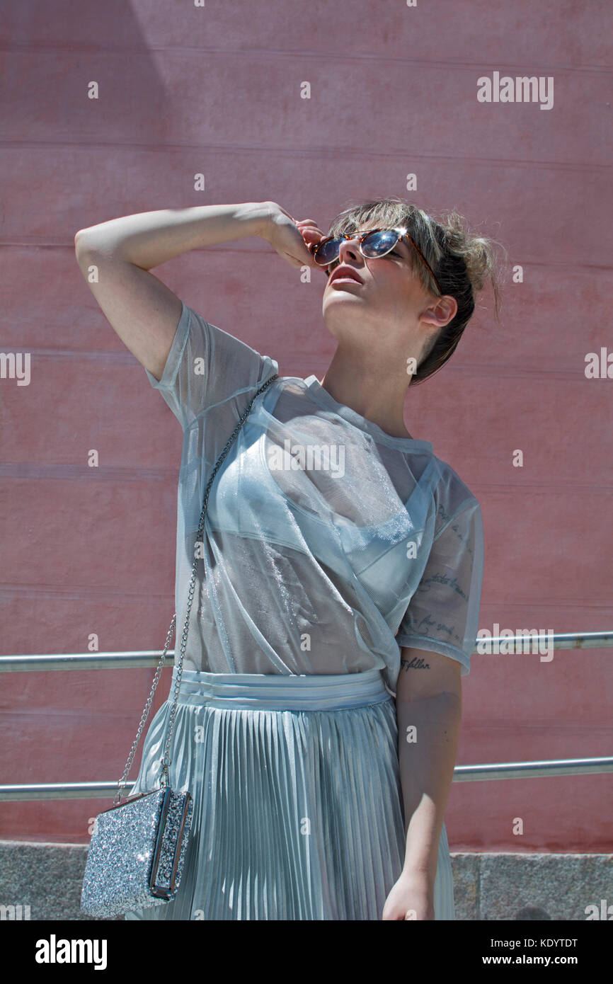 fashion portrait woman in the sun - Stock Image
