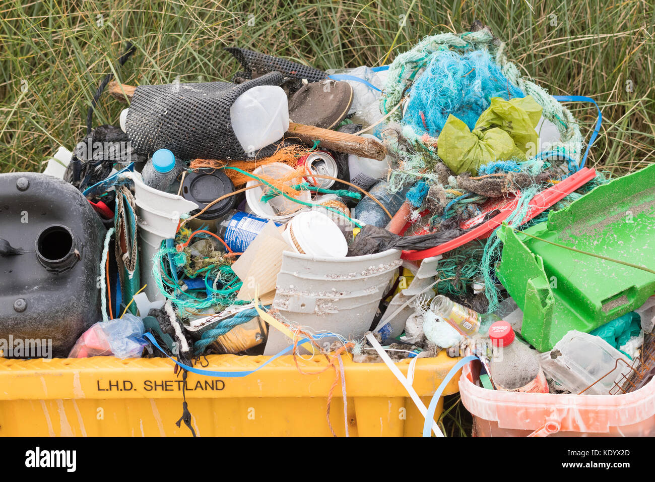 plastic and other rubbish collected from Shetland Islands beach, Scotland, UK - Stock Image